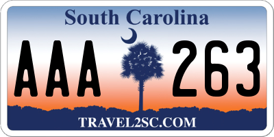 SC license plate AAA263