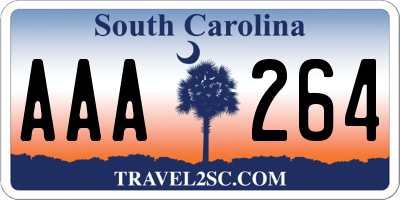 SC license plate AAA264