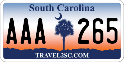 SC license plate AAA265