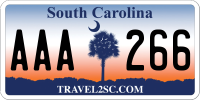 SC license plate AAA266