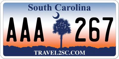 SC license plate AAA267