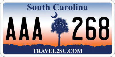 SC license plate AAA268