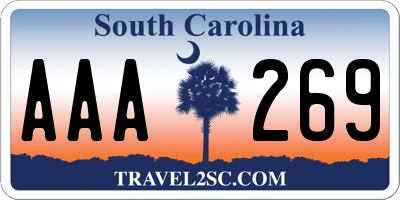 SC license plate AAA269
