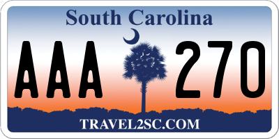 SC license plate AAA270