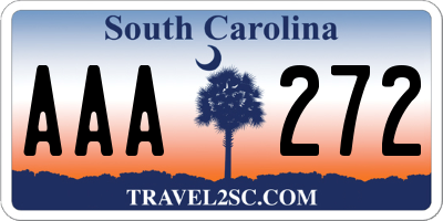 SC license plate AAA272