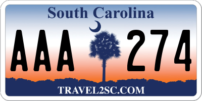 SC license plate AAA274