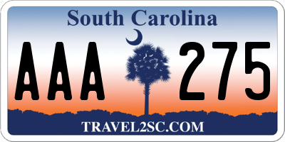 SC license plate AAA275