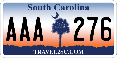 SC license plate AAA276