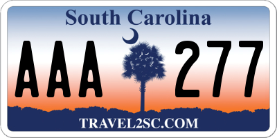 SC license plate AAA277