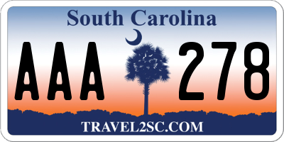 SC license plate AAA278