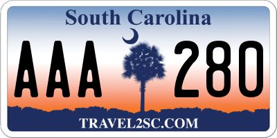 SC license plate AAA280