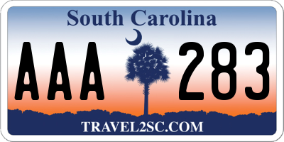 SC license plate AAA283