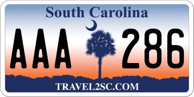 SC license plate AAA286
