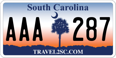 SC license plate AAA287