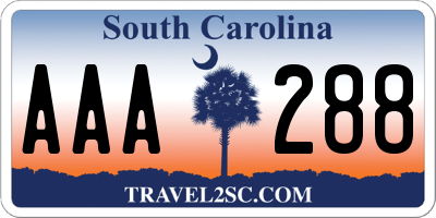 SC license plate AAA288