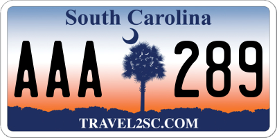 SC license plate AAA289