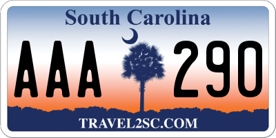 SC license plate AAA290