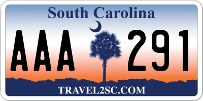 SC license plate AAA291