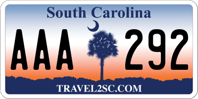 SC license plate AAA292