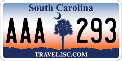 SC license plate AAA293