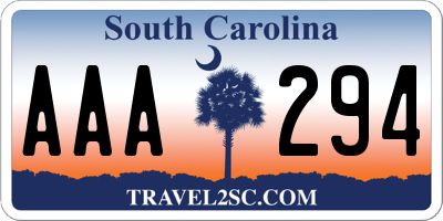 SC license plate AAA294