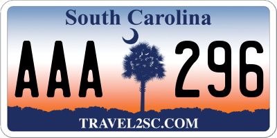 SC license plate AAA296