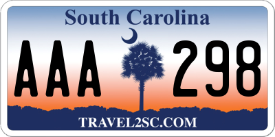 SC license plate AAA298