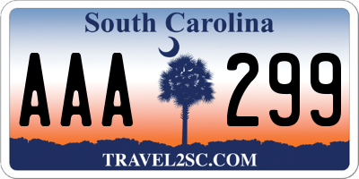 SC license plate AAA299
