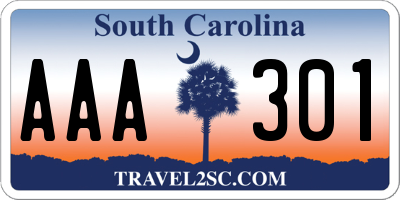 SC license plate AAA301