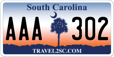 SC license plate AAA302