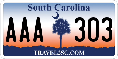 SC license plate AAA303