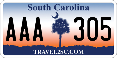 SC license plate AAA305