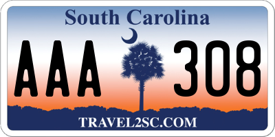 SC license plate AAA308