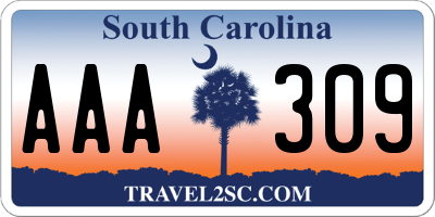 SC license plate AAA309