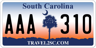 SC license plate AAA310