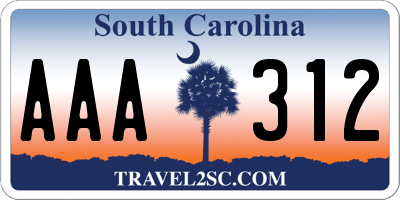 SC license plate AAA312