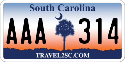 SC license plate AAA314
