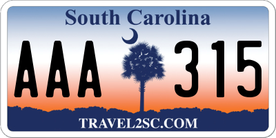 SC license plate AAA315