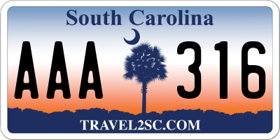 SC license plate AAA316