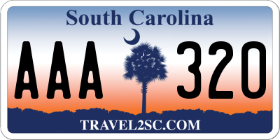 SC license plate AAA320