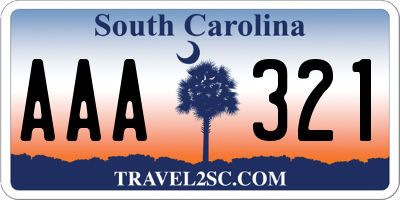 SC license plate AAA321