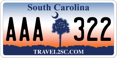 SC license plate AAA322