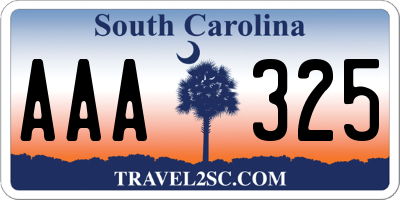 SC license plate AAA325