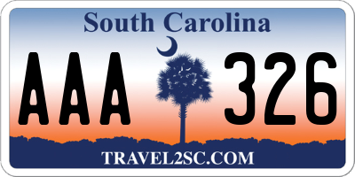 SC license plate AAA326