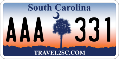 SC license plate AAA331