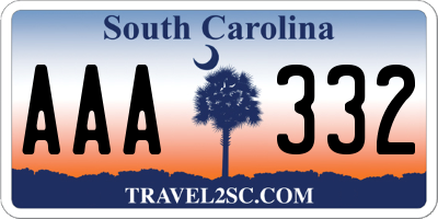 SC license plate AAA332