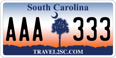 SC license plate AAA333