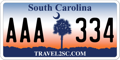 SC license plate AAA334