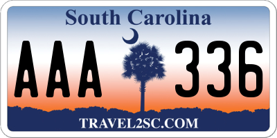 SC license plate AAA336