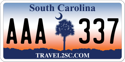 SC license plate AAA337